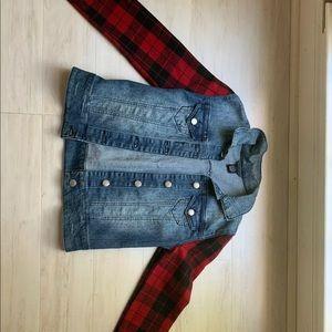 Flannel plaid sleeves jean jacket vintage fashion